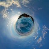 Heuveltjes op blauw ijs van Meer Baikal van Olkhon Sferisch panorama 360 weinig planeet Royalty-vrije Stock Foto