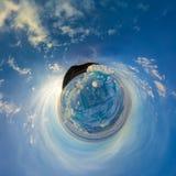 Heuveltjes op blauw ijs van Meer Baikal van Olkhon Sferisch panorama 360 weinig planeet Stock Fotografie