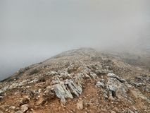 Heven& x27;s step. A foggy mountain Royalty Free Stock Photo