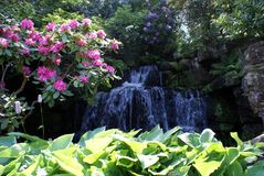 Hever castle garden feature, cascade, or waterfall in England. Royalty Free Stock Images