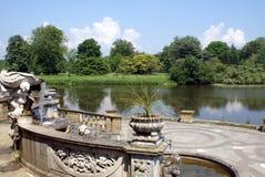 Hever castle garden's patio at a lakeside in England Stock Photo