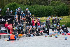 Hever Castle Triathlon. swimmers. Sept 23rd 2017 Royalty Free Stock Photography