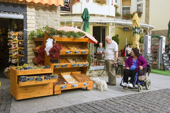 HEVIZ, HUNGARY - 29 AUG, 2013: Unidentified people chooses products Stock Photography