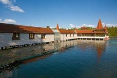 Heviz Spa in Hongarije Het meer Heviz is 2de grootste natuurlijk Royalty-vrije Stock Foto
