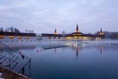 Heviz spa at night in Hungary. Heviz Thermal Lake at night in Hungary. The 2nd largest natural warm water lake in the world Stock Photo