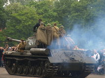 Hevy tank IS 2 with infantry. Stock Photography