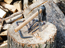 Hew axe and forged hardware on wooden block Stock Image