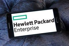 Hewlett Packard Enterprise Company logo. Logo of Hewlett Packard Enterprise Company on samsung mobile. it is an American multinational enterprise information Stock Photography