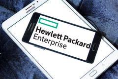 Hewlett Packard Enterprise Company logo. Logo of Hewlett Packard Enterprise Company on samsung mobile. it is an American multinational enterprise information Royalty Free Stock Image