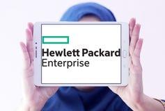 Hewlett Packard Enterprise Company logo. Logo of Hewlett Packard Enterprise Company on samsung tablet holded by arab muslim woman. it is an American Stock Images