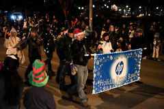 Hewlett Packard HP holiday kazoo band in holiday parade, Corvall Royalty Free Stock Photos