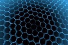 Hexágono abstrato transparente rendido do raio X azul ilustração stock