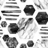 Hexágono con las rayas, mármol del color de agua, granuloso, grunge, texturas de la acuarela del papel Imágenes de archivo libres de regalías