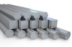 Hexágono de aço e hastes redondas do barra e as quadradas Fotografia de Stock Royalty Free