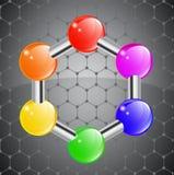 Hexágono de la molécula del color Fotografía de archivo