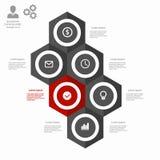 Hexágono infographic del negocio en diseño plano Disposición para sus opciones o pasos ilustración del vector