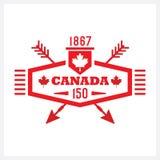 Hexágono longo vermelho e ícone cruzado do emblema de Canadá 150 das setas Foto de Stock