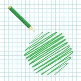 Hexágono manuscrito verde Ilustración del Vector