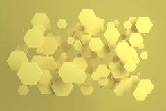 Hexágonos amarillos del tamaño al azar en fondo amarillo Fotografía de archivo libre de regalías