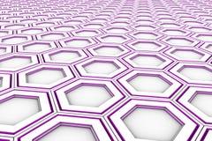 Hexágonos blancos con los lados que brillan intensamente violetas Imagen de archivo