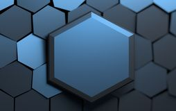 Hex?gonos brillantes azul marino ilustración del vector