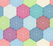 Hexágonos coloreados del ganchillo stock de ilustración