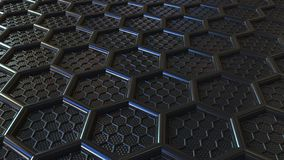 Hexágonos plásticos do preto do sumário A tecnologia moderna relacionou a rendição 3D fotos de stock
