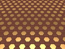 Hex Background in Wood & Gold Royalty Free Stock Photography