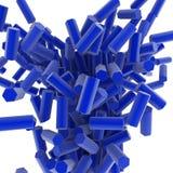 Hex Blocks. Blue 3d hexagonal blocks, over white, isolated Stock Photography
