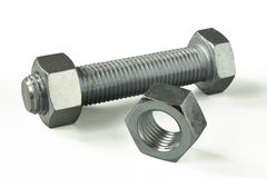 Hex bolt and nut stranded Stock Images