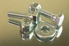 Hex bolts with locknuts Stock Photography