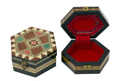 Hex Boxes Marquetry. Two Boxes Hexagonal wooden with marquetry ornaments. They are used as jewelry boxes Stock Photo