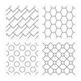 Hex, diagonal rectangles and circles textures Stock Photography