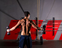 Hex dumbbells man workout rear view at gym Royalty Free Stock Image