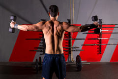 Hex dumbbells man workout rear view at gym. Hex dumbbells man workout rear view back exercise at gym box stock image