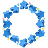 Hex frame of blue meeples Royalty Free Stock Image