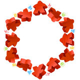 Hex frame of red meeples Stock Photos