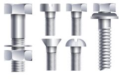 Free Hex Head Bolt And Nut Hardware Parts In Chrome Side View Stock Image - 169381021