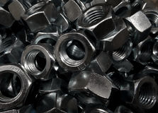 Hex head nuts closeup texture background Royalty Free Stock Image