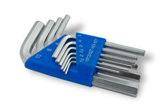 Hex key set. The ten hex key set one-pack stock photography