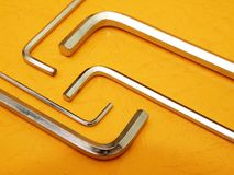 Hex key set on orange Stock Photo