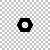 Hex nut icon flat vector illustration