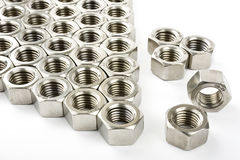 Hex nuts, stainless steel Stock Photography