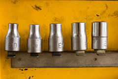 Hex Socket set in the auto tools box. Royalty Free Stock Image