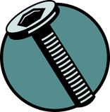 Hex threaded bolt or screw. Vector file available. Illustration of an hex head threaded bolt or screw hardware. Vector file available in EPS format Stock Image