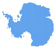 Hex Tile Antarctica Map. Hex-Tile Antarctica map. Vector territorial plan on a white background. Abstract Antarctica map mosaic is formed from hexagon dots royalty free illustration