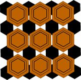Hex wallpaper pattern. Hex pattern from sixties interlaced with black grounds vector illustration