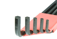 Hex Wrench Set. Closeup view of hex wrench set in red holder Royalty Free Stock Images