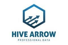 Hexa arrow logo. Logo design of arrow in hexagon Stock Image
