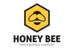 Hexa bee logo. Logo design of bee in hexagon Royalty Free Stock Image
